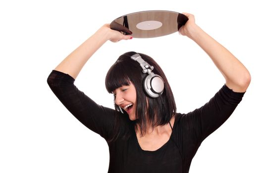 girl dj holding a lp over the head