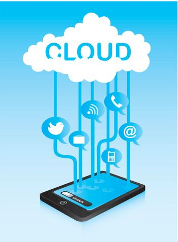 cloud communication with icons and phone. vector illustration