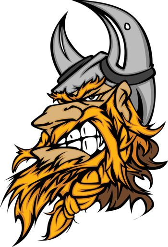 Cartoon Viking Mascot Head Vector Image with Horned Helmet