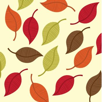 leaves autumn over beige background. vector illustration