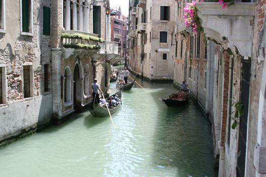 Venice, antique buildings along Canals