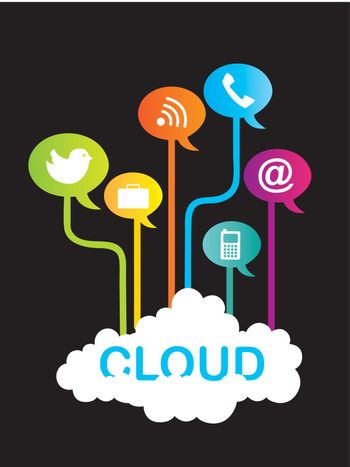 cloud communication with icons over black background. vector