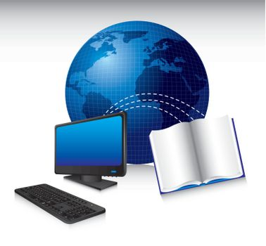 computer with  book and world, technology. vector illustration