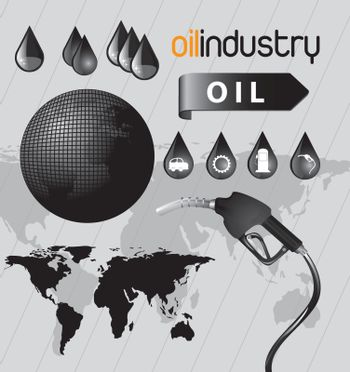 oil icon in the world ove gray background vector illustration
