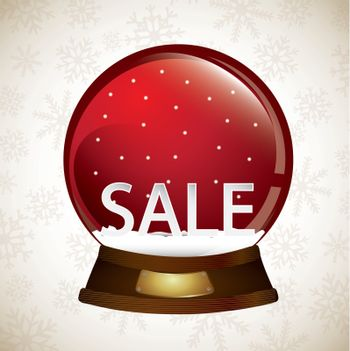 snowball with sale inside over white background. Vector illustration