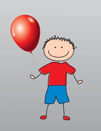 Happy child with a balloon vector illustration