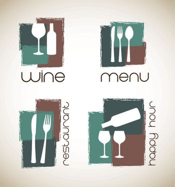 icons of menu and wine  over white background