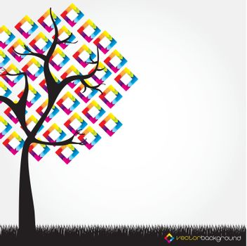 tree with leaves in the form of colored squares