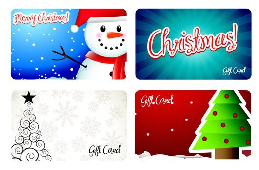 Christmas cards with tree and snowman