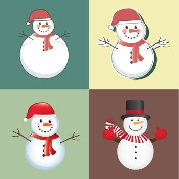 christmas card with different snowmen vector illustration