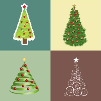 Different Christmas trees vector illustration Christmas card