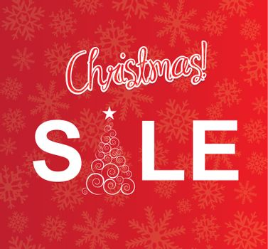 Christmas sale with tree over red background