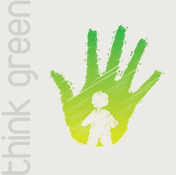 Green hand with person in signal of protection