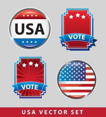 usa vector set with flag and tags vector illustration