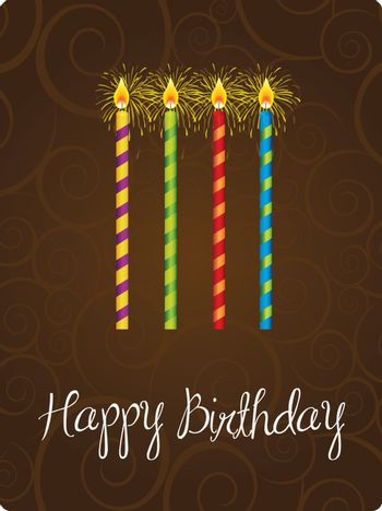 Happy birthday card with candle  over brown background