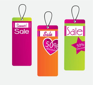Tags sale of different colors over white background