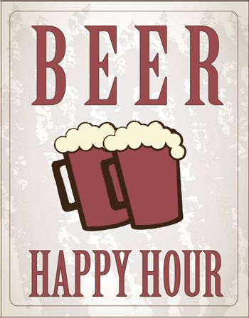 poster happy hour with two beers vector illustration
