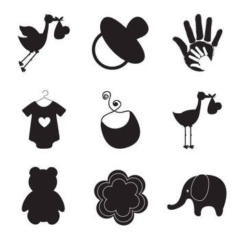 silhouettes of baby items over white background vector illustration
