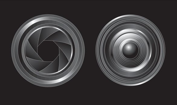 lens open and closed over black background