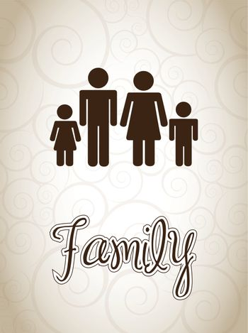 silhouettes of a family together vector illustration