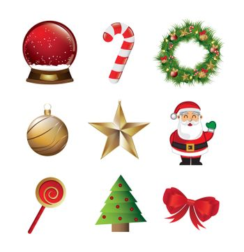 Christmas symbols like Santa Claus, star, tree, candy, snowball over white background