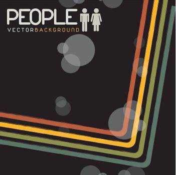 symbol of people in couples with colored lines over black background