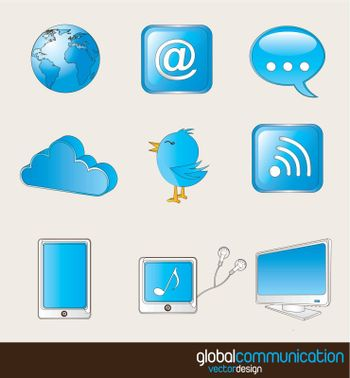 communication and connectivity icons over white background