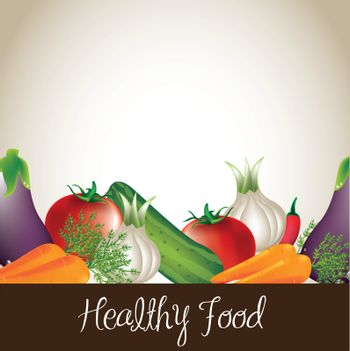 Healthy food background wilh tomato, carrot and onion vector illustration