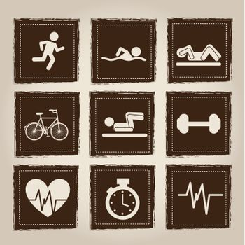 health and sport icons over gray background vector illustration