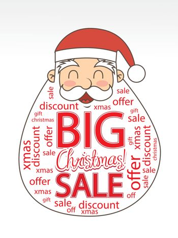 Christmas sale on a big santa over white background