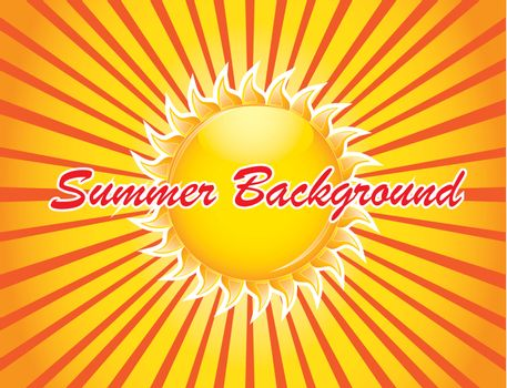 Summer fun background over yellow and orange background