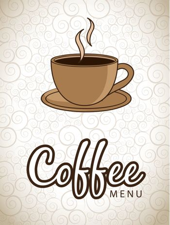 Hot cup of coffee over vintage background vector illustration