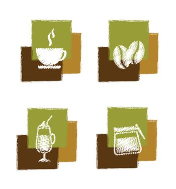 coffee signs over white background vector illustration