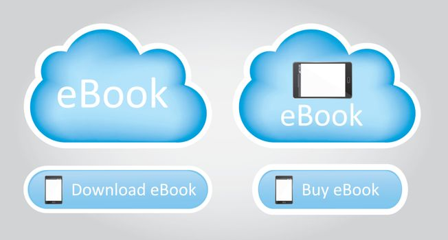 cloud computing with ebook over white background vector illustration