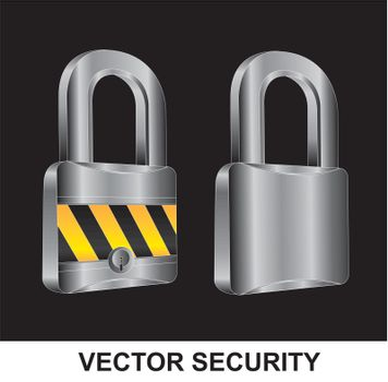 two locks in different positions over black background
