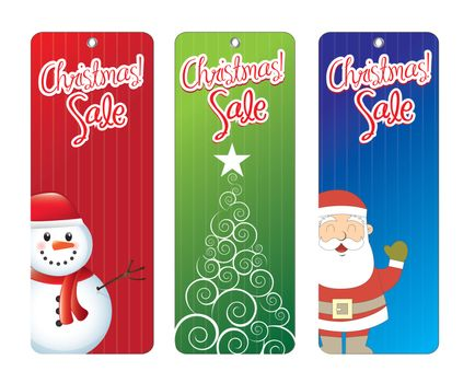 Christmas labels with tree, Santa Claus and snowmen