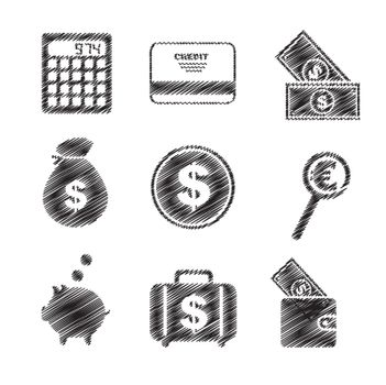 Icons of money and means of payment vector illustration