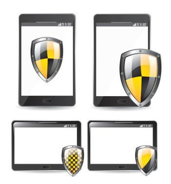 security seals black and yellow over technology background vector illustration