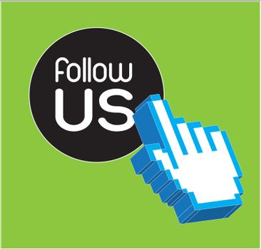 hand course with follow us button vector illustration