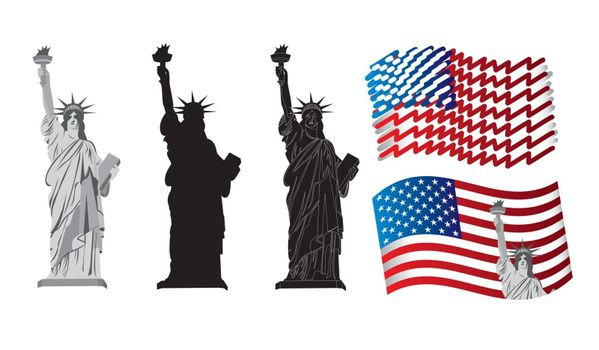 symbols of American patriotism with the Statue of Liberty