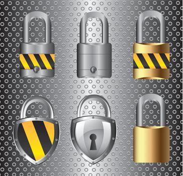 Safety symbol over chrome background vector illustration