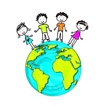 children about the world as a sign of union and protection vector illustration