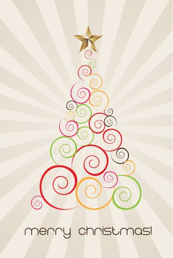 Merry christmas card with tree and star over lines background