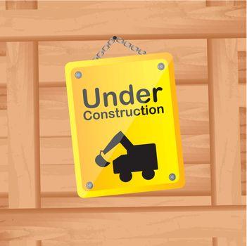 under construction over wood background vector illustration