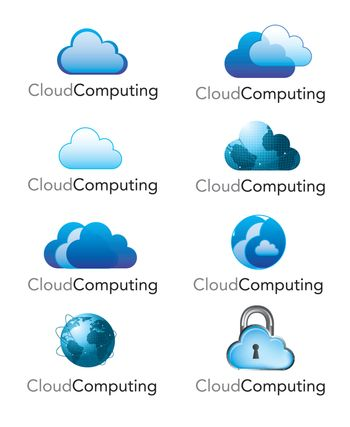different storage clouds computing over white background