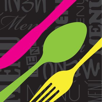 colors cutlery  over black background vector illustration