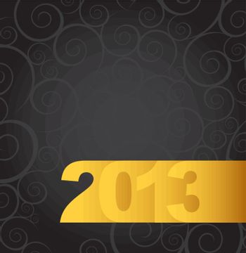 New year gold over black background vector illustration
