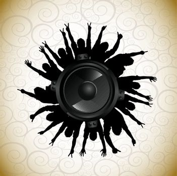 speaker with sound over vintage background vector