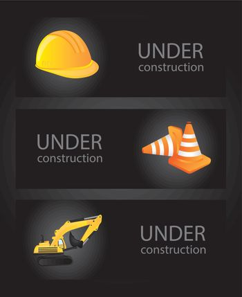 icons of under construction over black background vector illustration