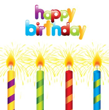 Happy Birthday card with candles over white background